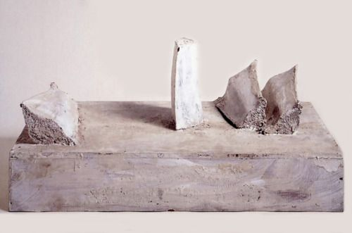 140:29 twombly vulci chronicle gaeta 1995 wood white paint 10 x 24 x 12 knuckle bones in wooden block.jpg